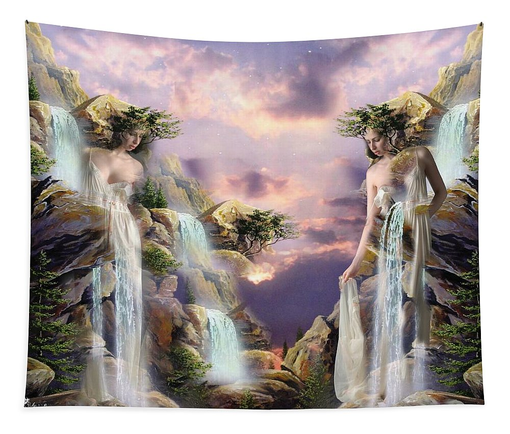 Fantasy Tapestry featuring the digital art Twin Falls by Ali Oppy