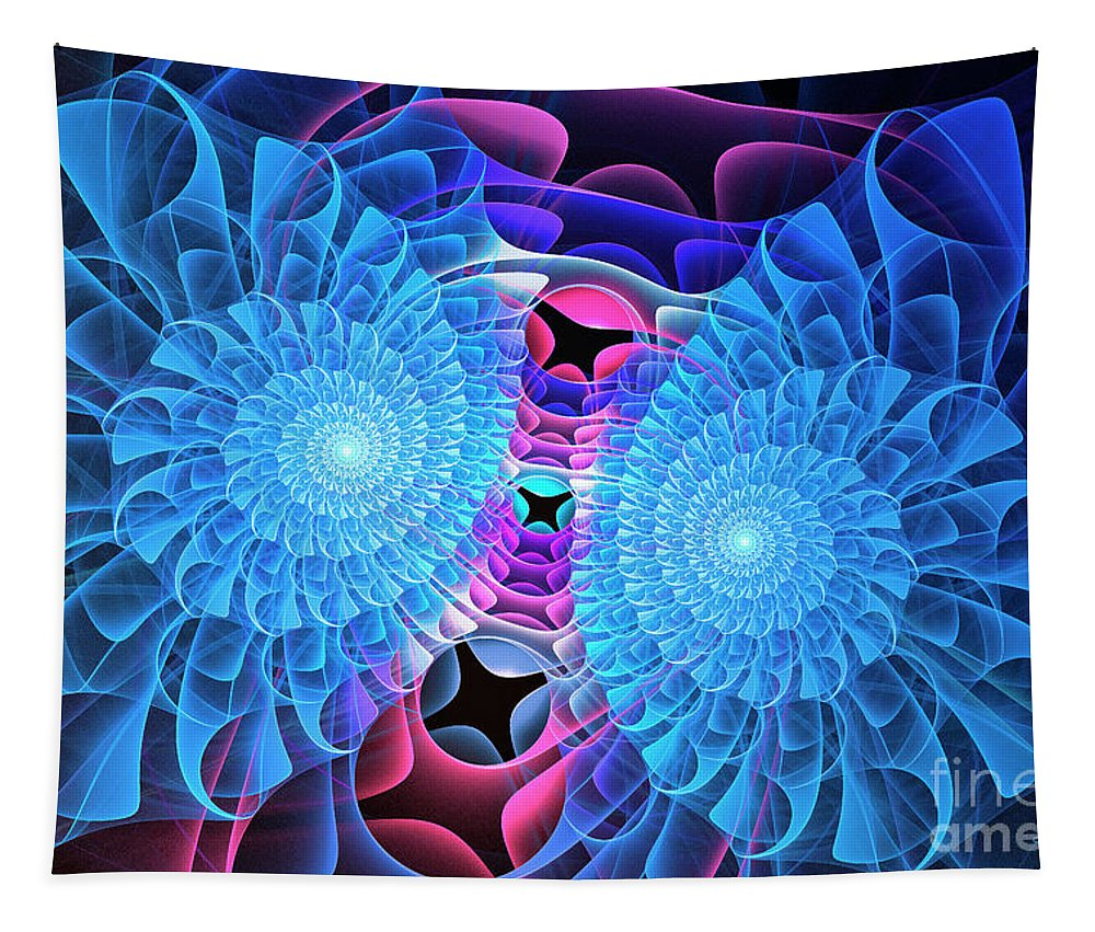 Fractal Tapestry featuring the digital art Twin Flowers by Jutta Maria Pusl