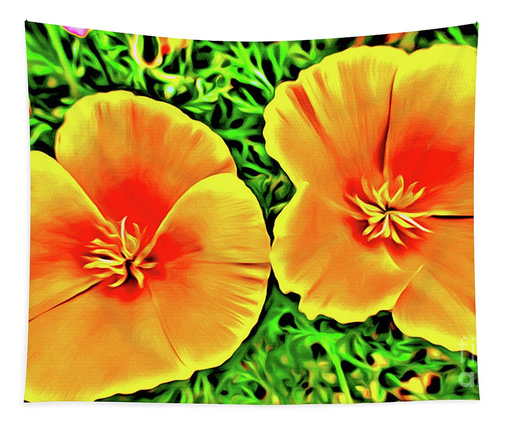 2 Tapestry featuring the photograph Twin Poppies by Jerome Stumphauzer