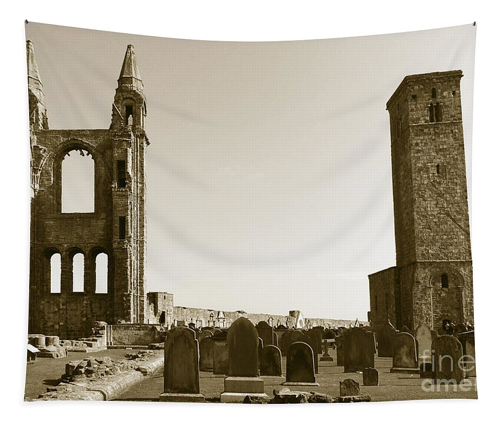Twin Turrets And St. Rule's Tower Tapestry featuring the photograph Twin Turrets And St. Rule's Tower by Elena Perelman