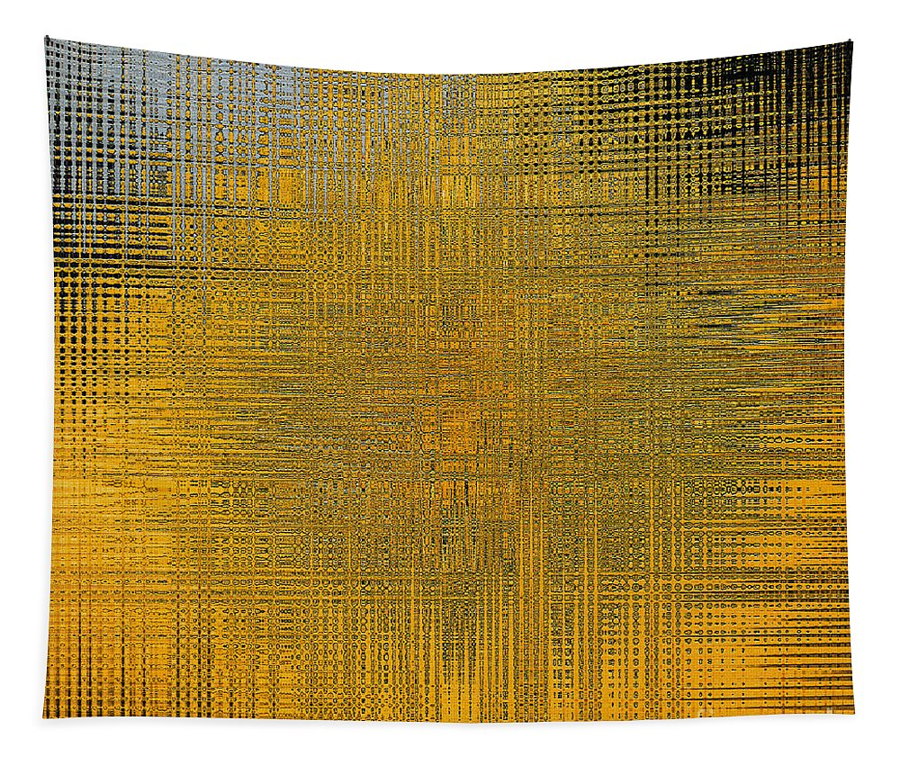 Twirl Tapestry featuring the painting Twirl Art Yellow by Gull G