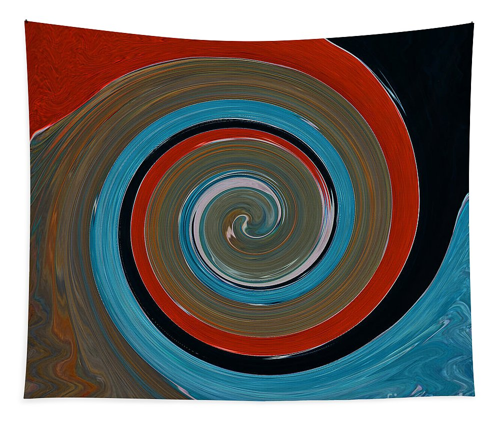 Twirl Tapestry featuring the painting Twirl Red 01 by Gull G