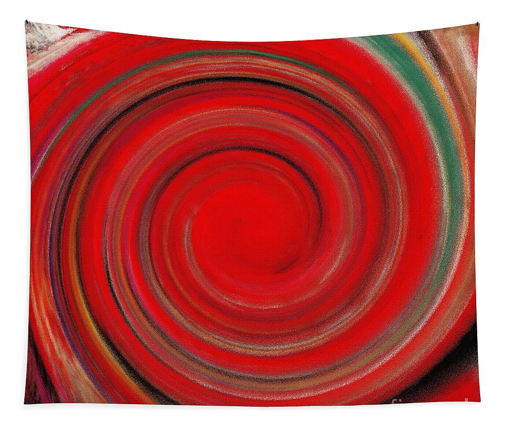 Twirl Tapestry featuring the painting Twirl Red-0951 by Gull G