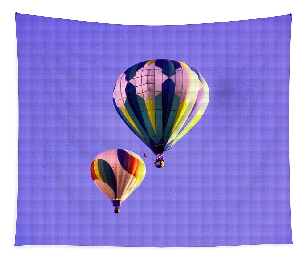 Hot Air Balloons Tapestry featuring the photograph Two Balloons In The Clear Blue Sky by Jeff Swan