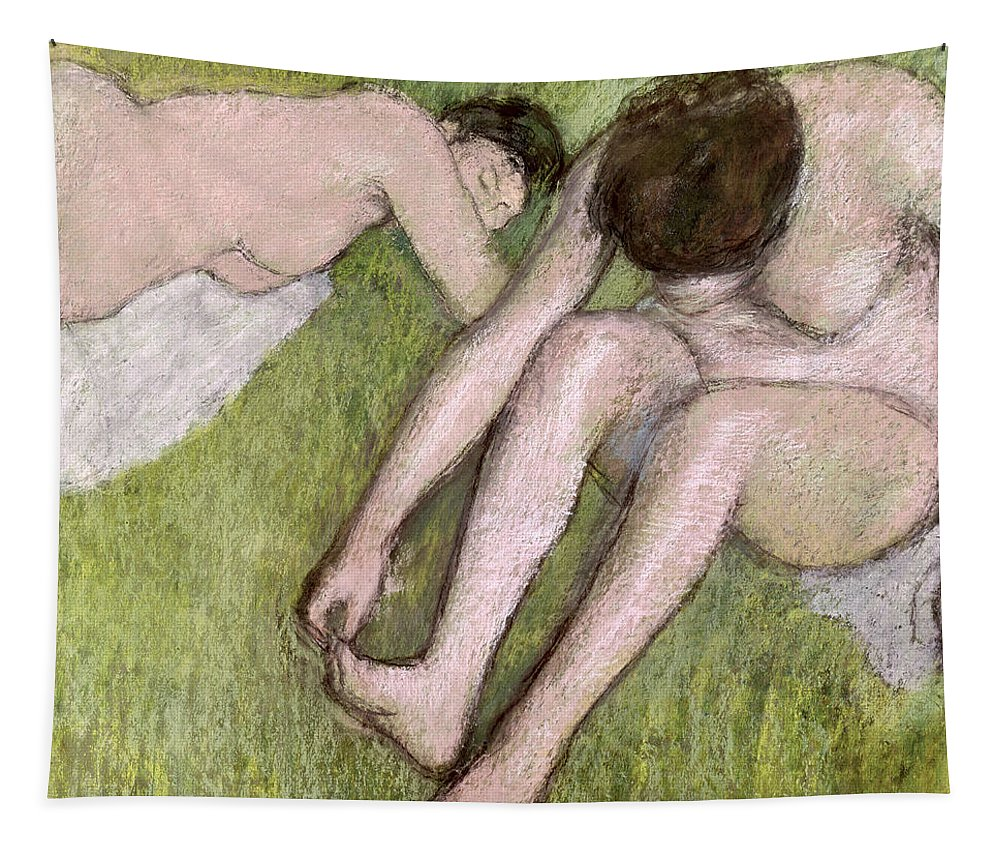 Two Bathers On The Grass Tapestry featuring the pastel Two Bathers On The Grass by Edgar Degas
