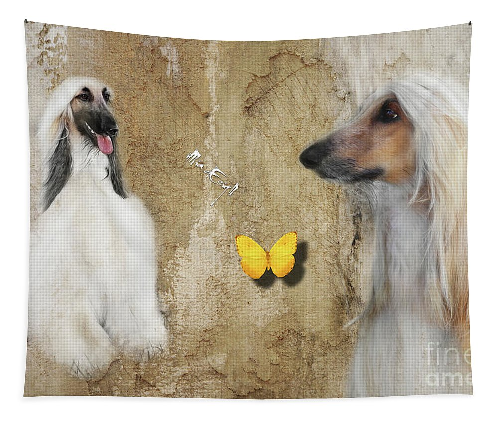 Imia Tapestry featuring the digital art Two Beautiful Afghans by Maria Astedt