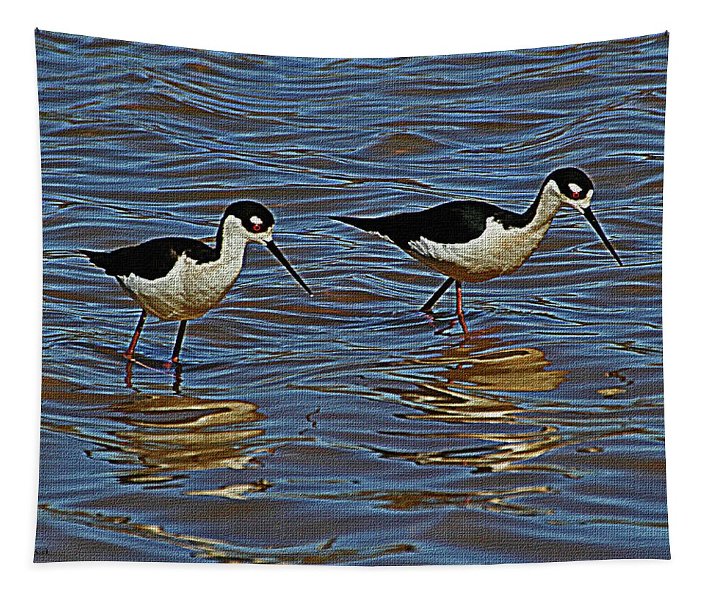 Two Black Neck Stilts Tapestry featuring the digital art Two Black Neck Stilts by Tom Janca