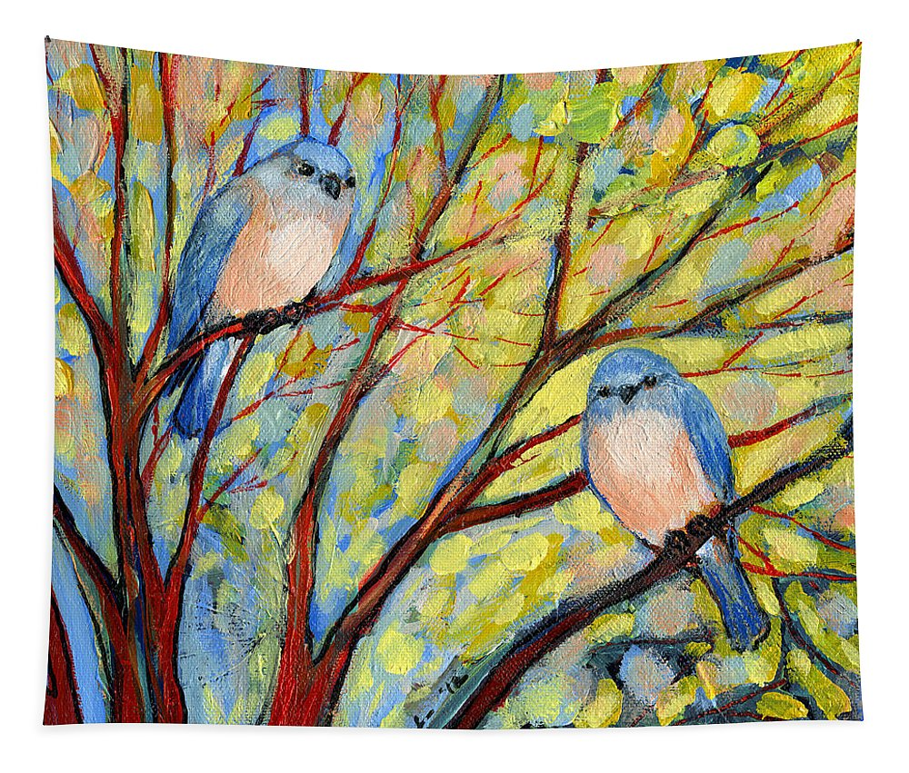Bird Tapestry featuring the painting Two Bluebirds by Jennifer Lommers