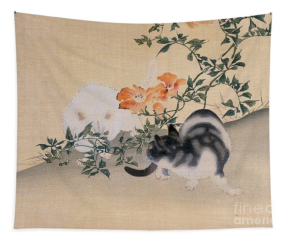 Black; White; Stripes; Striped; Hibiscus; Flower; Flowers; Chat; Chats; Asian; Oriental; Animal Tapestry featuring the painting Two Cats by Japanese School