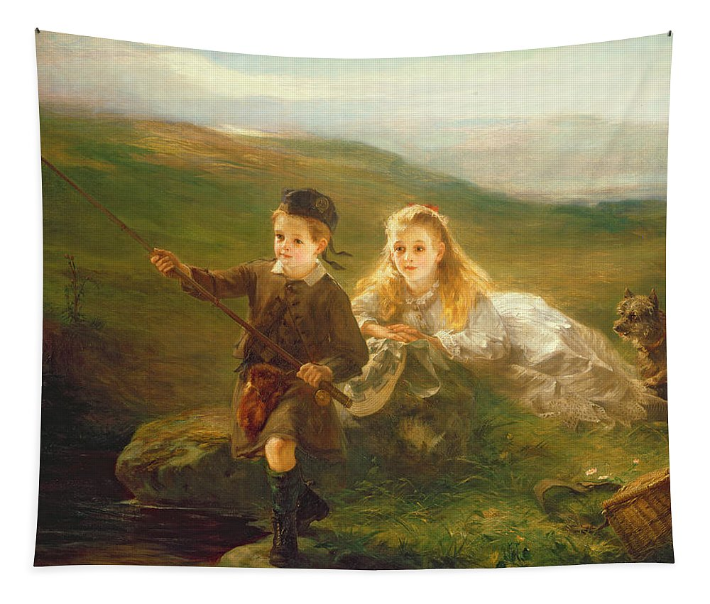 Two Tapestry featuring the painting Two Children Fishing In Scotland  by Otto Leyde