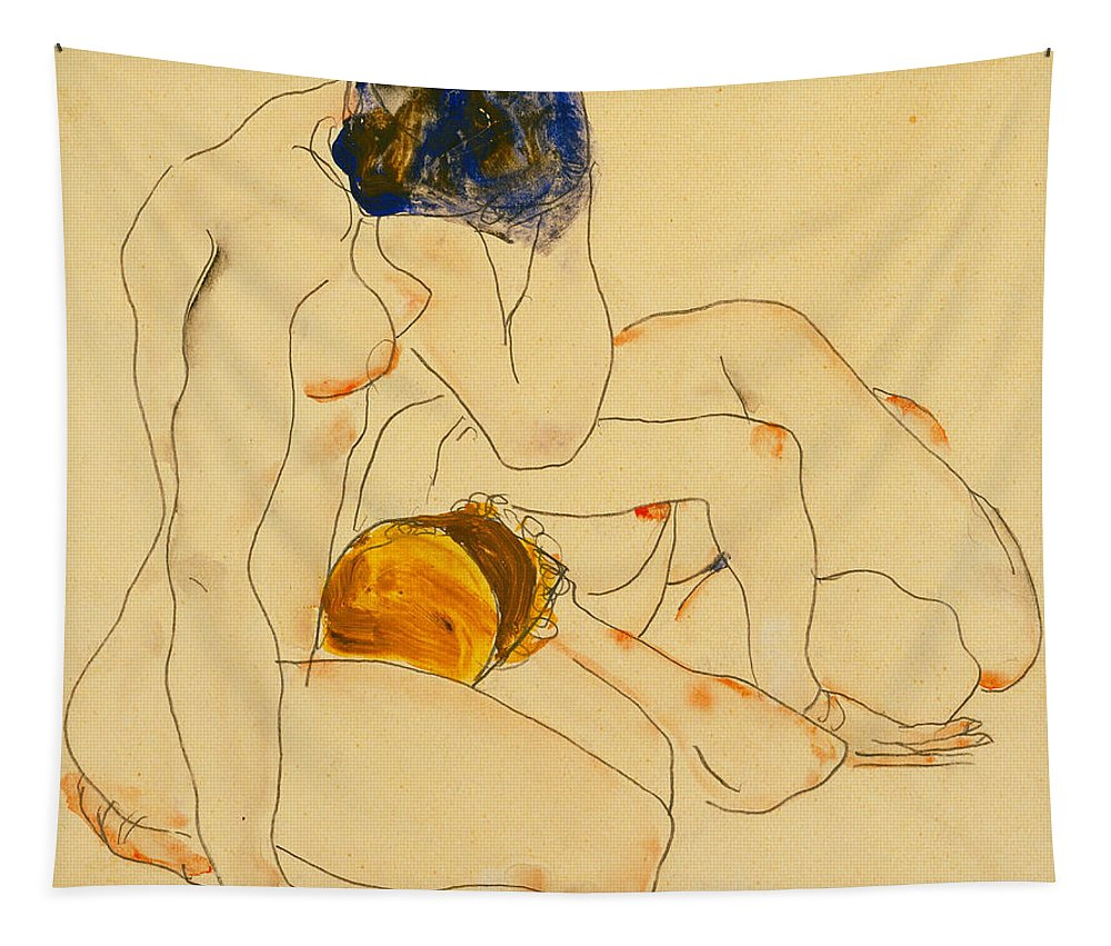 Egon Schiele Tapestry featuring the painting Two Friends by Egon Schiele
