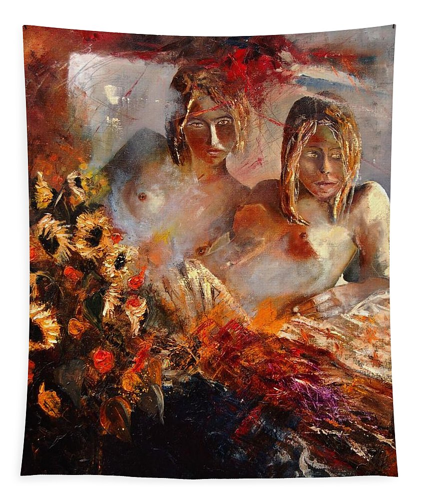 Girl Nude Tapestry featuring the painting Two Friends by Pol Ledent
