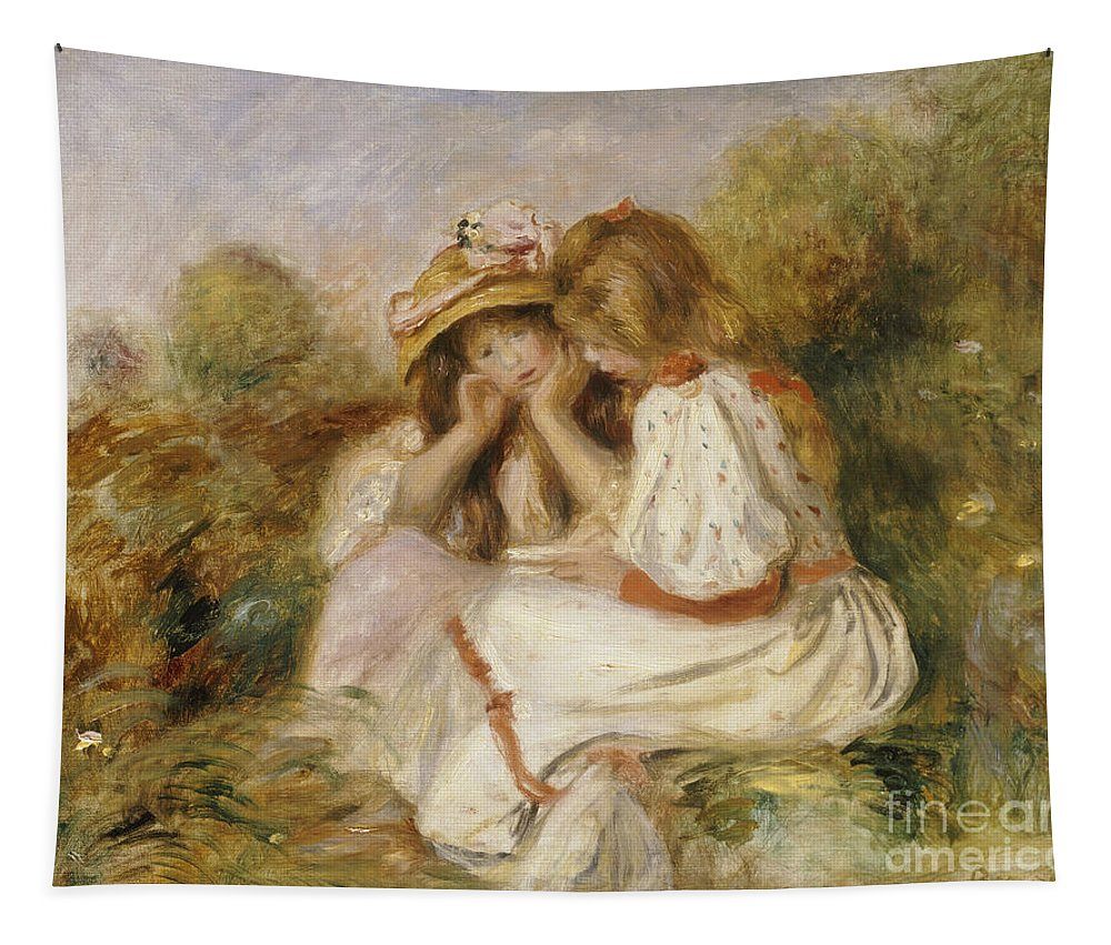 Portrait; Female; Seated; Impressionist; Impressionism; Outdoors Tapestry featuring the painting Two Girls by Pierre Auguste Renoir