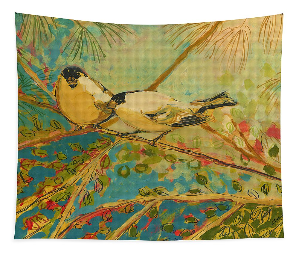 Bird Tapestry featuring the painting Two Goldfinch Found by Jennifer Lommers