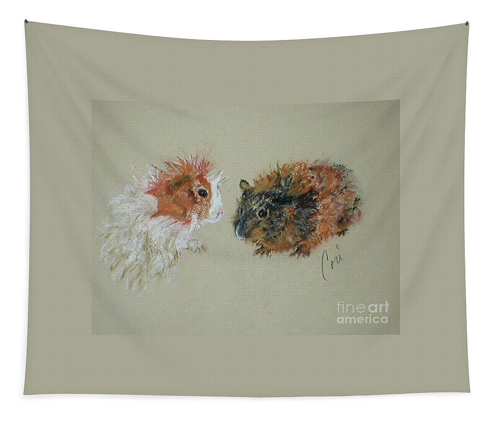 Guineas Tapestry featuring the drawing Two Guineas by Cori Solomon