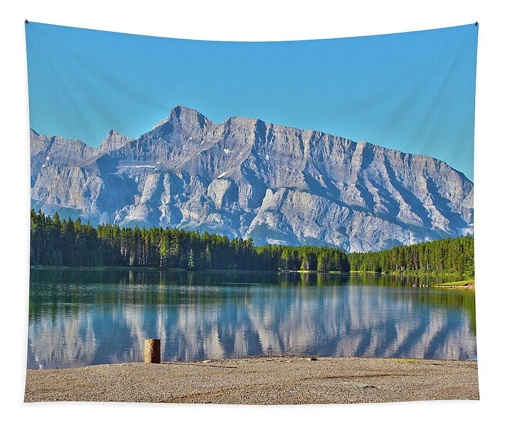 Two Jack Lake Tapestry featuring the photograph Two Jack Lake by Linda Sannuti