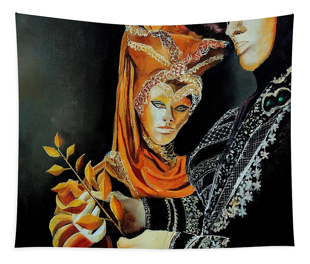 Mask Venice Carnavail Italy Tapestry featuring the painting Two masks in Venice by Pol Ledent