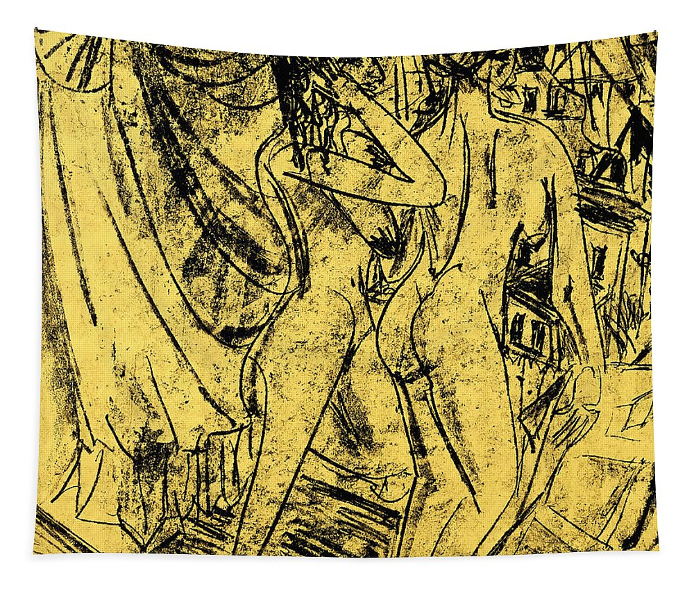 Kirchner Tapestry featuring the painting Two Nudes At The Window by Ernst Ludwig Kirchner