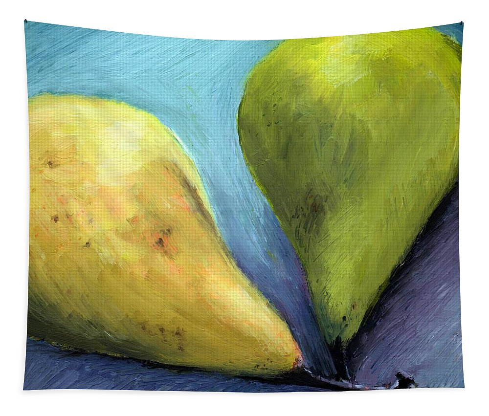 Pear Tapestry featuring the painting Two Pears Still Life by Michelle Calkins