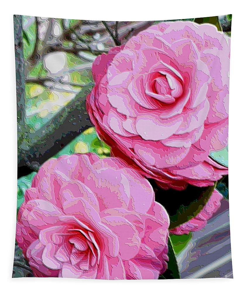 Camellia Tapestry featuring the photograph Two Pink Camellias - Digital Art by Carol Groenen