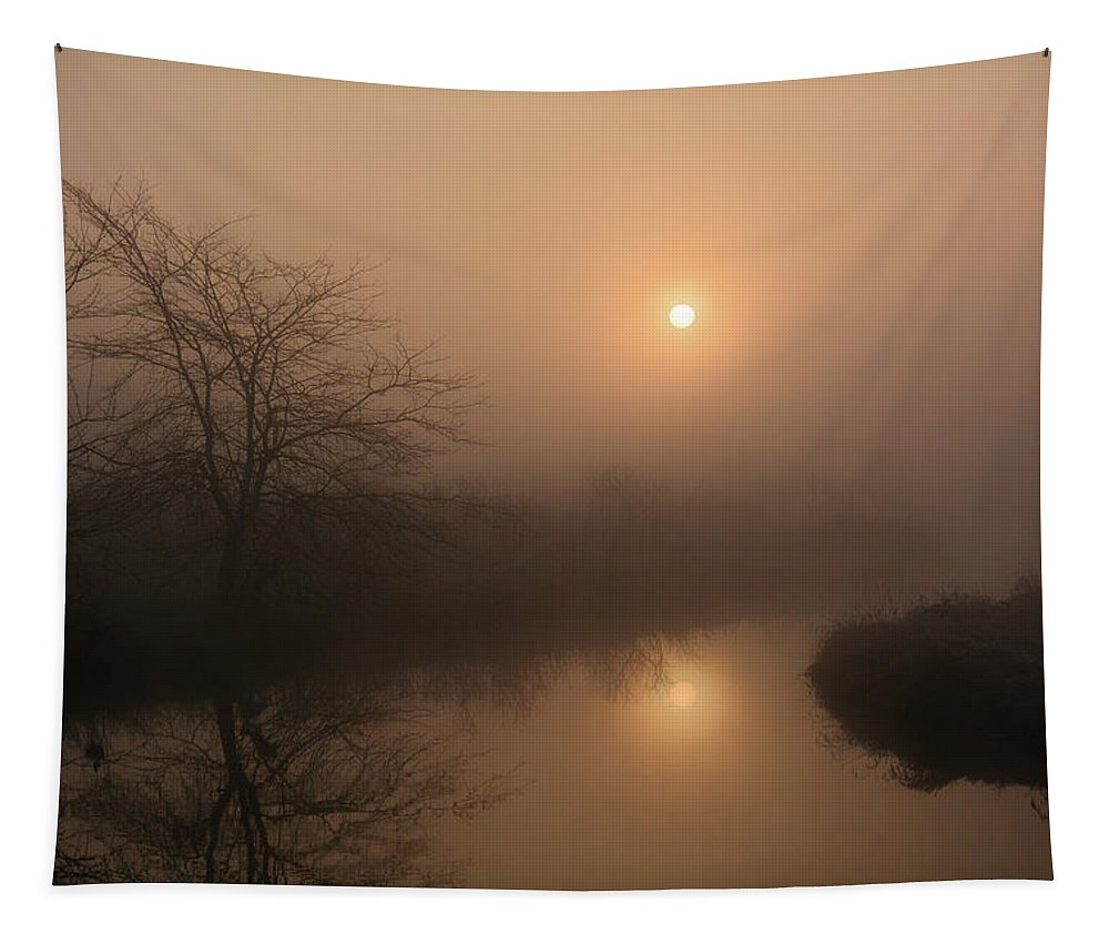 Sun Tapestry featuring the photograph Two Suns In The Mist by Bonfire Photography