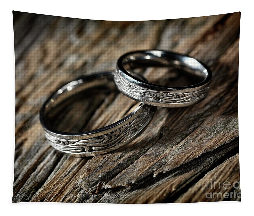 Wedding Tapestry featuring the photograph Two Wedding Rings With Celtic Design by Awen Fine Art Prints