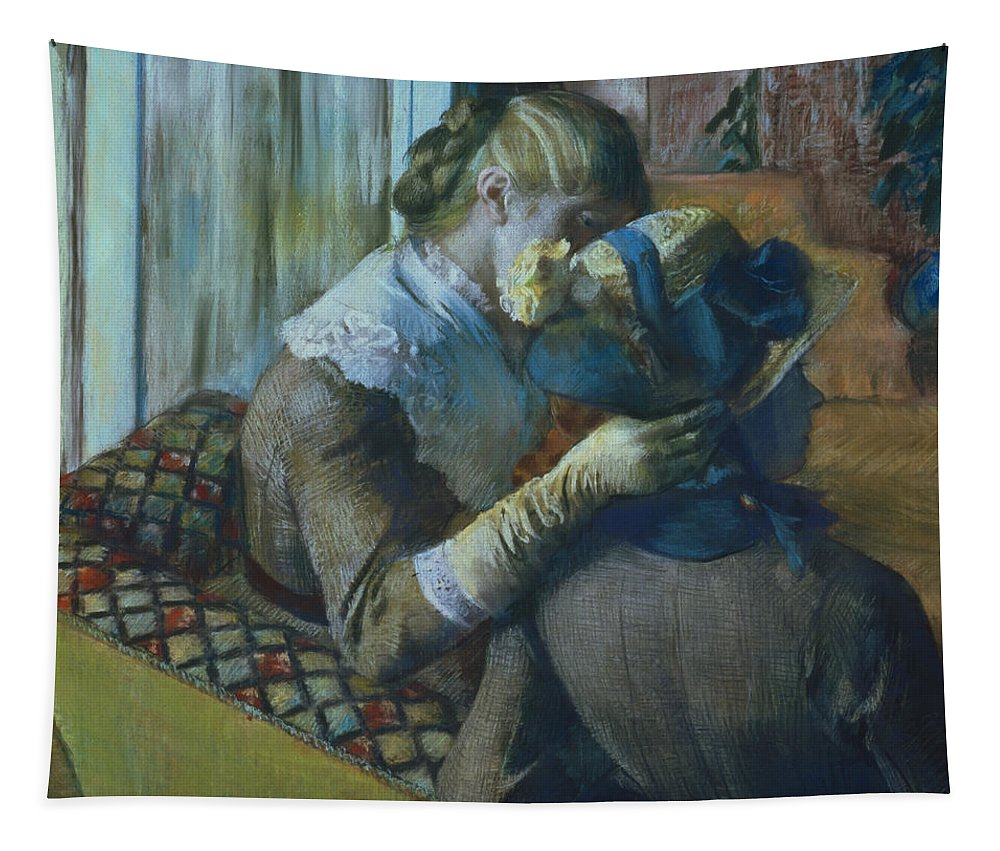 Impressionist; Female; Interior; Bonnet; Sofa; Seated; Caress; Lesbian; Annenberg Collection; Palm Springs; Straw Hat; Boater; Ribbon; Femme; Amie; Amitie; Confidence; Intimite; Conversation; Amies Tapestry featuring the painting Two Women by Edgar Degas