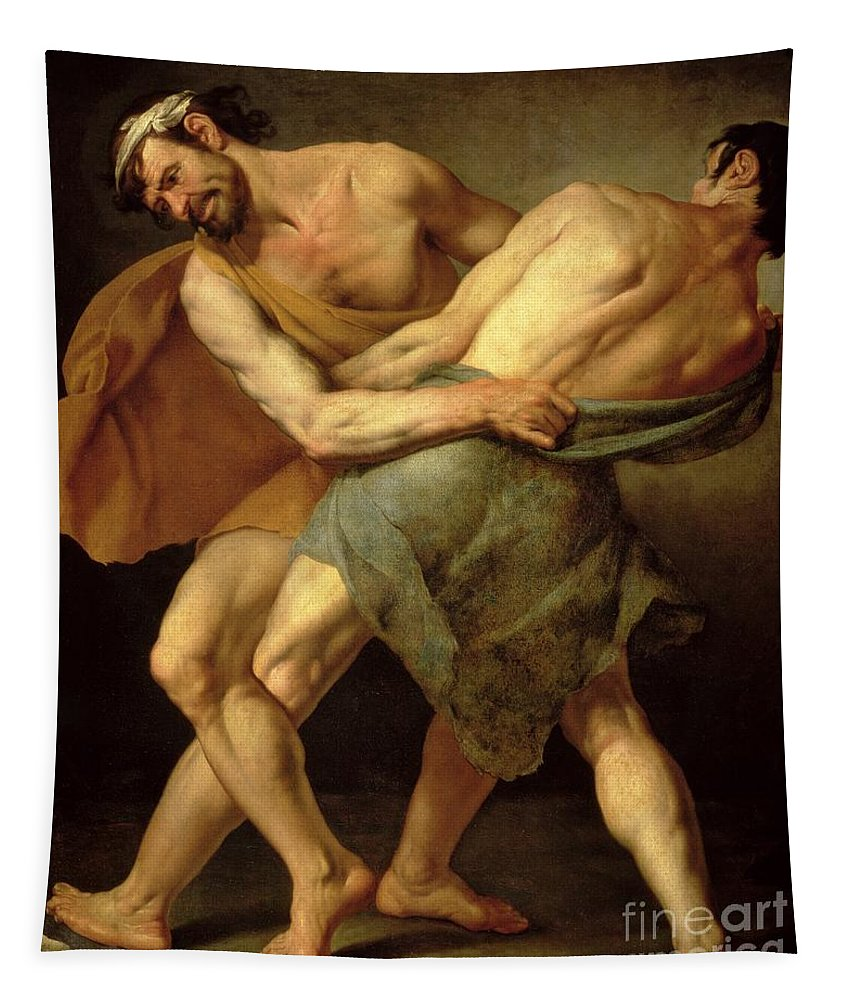 Nude Tapestry featuring the painting Two Wrestlers by Cesare Francazano