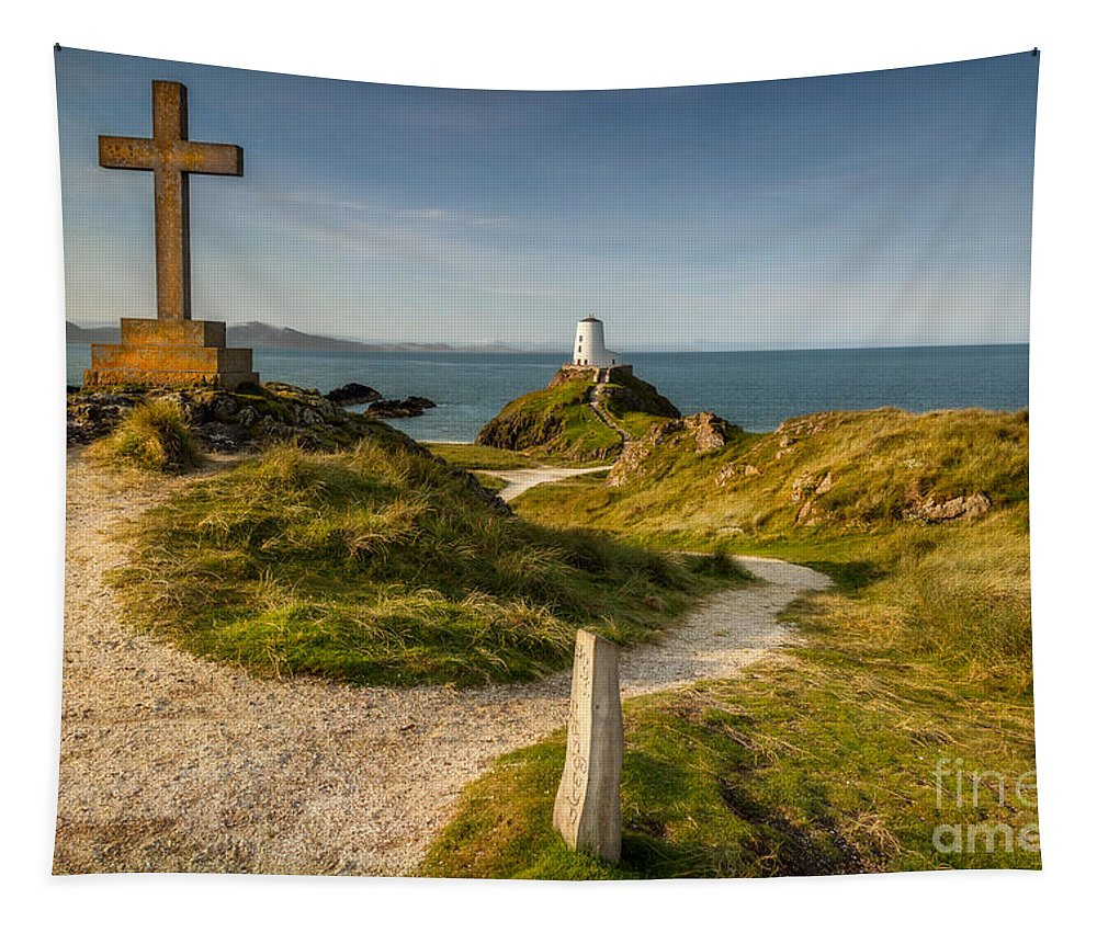 Lighthouse Tapestry featuring the photograph Twr Mawr Lighthouse by Adrian Evans