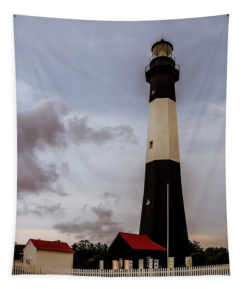 Tybee Island Lighthouse Tapestry featuring the photograph Tybee Island Lighthouse - Square Format by Debra Martz