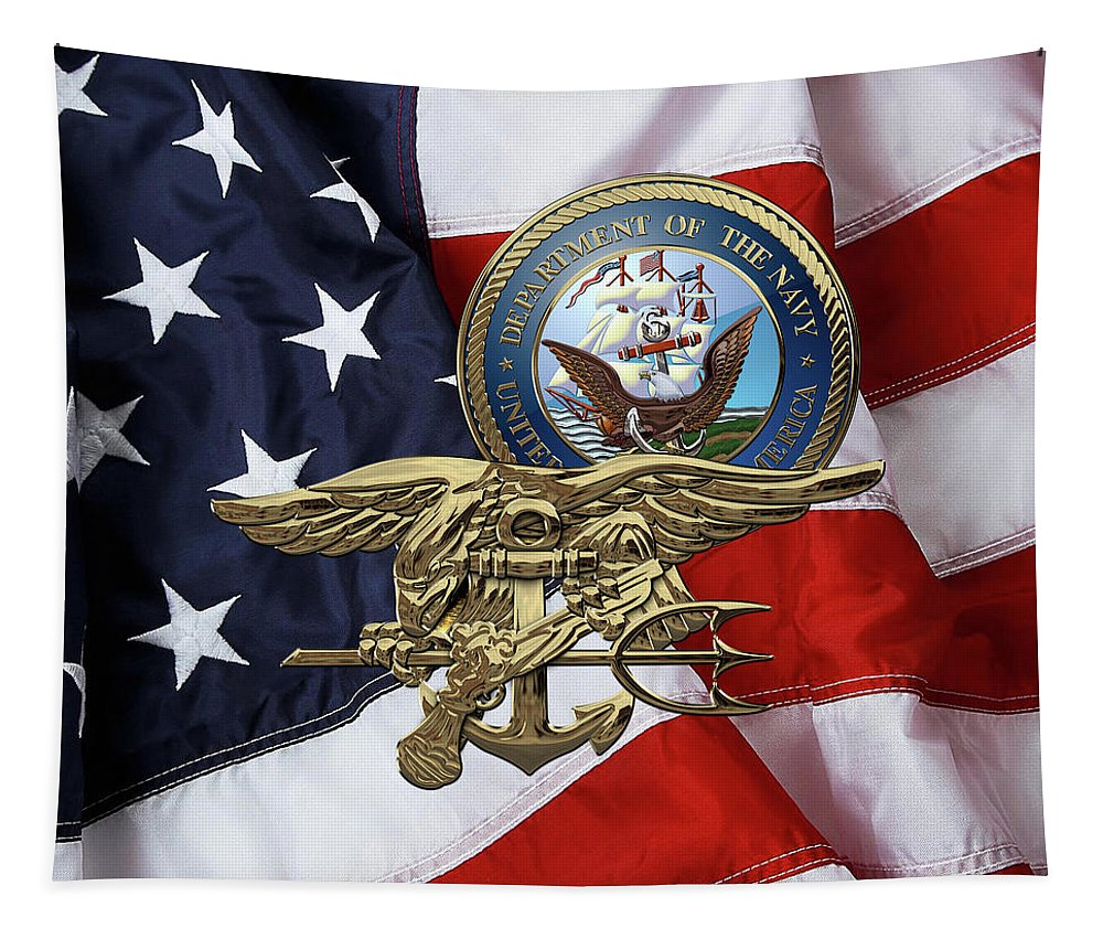 'military Insignia & Heraldry 3d' Collection By Serge Averbukh Tapestry featuring the digital art U. S. Navy S E A Ls Trident Over American Flag by Serge Averbukh