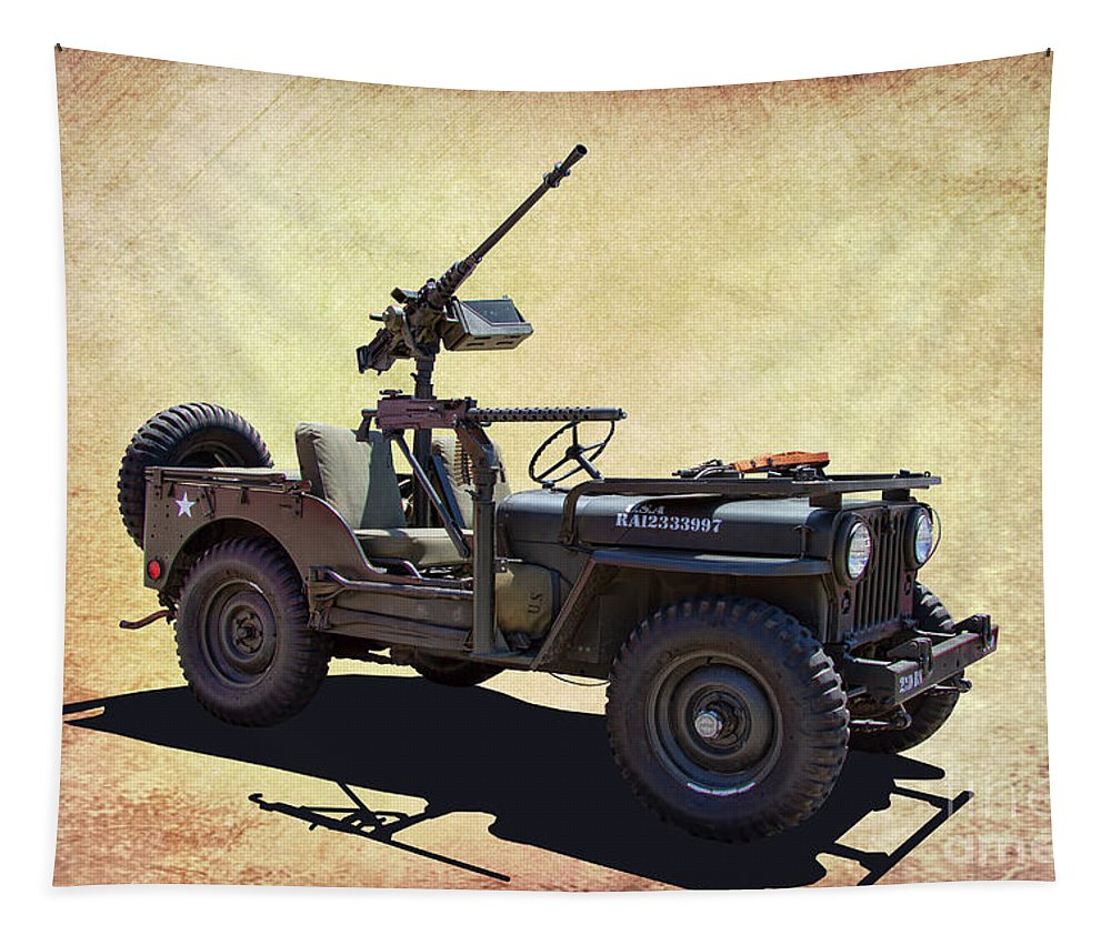U S A Tapestry featuring the photograph U. S.rmy Jeep With Assualt Weapons by Nick Gray