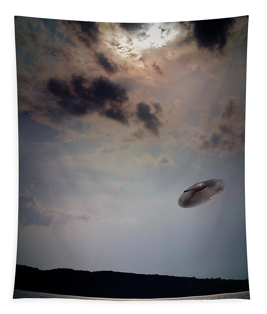 Ufo Tapestry featuring the photograph Ufo Over Lake Superior by Robert Storost