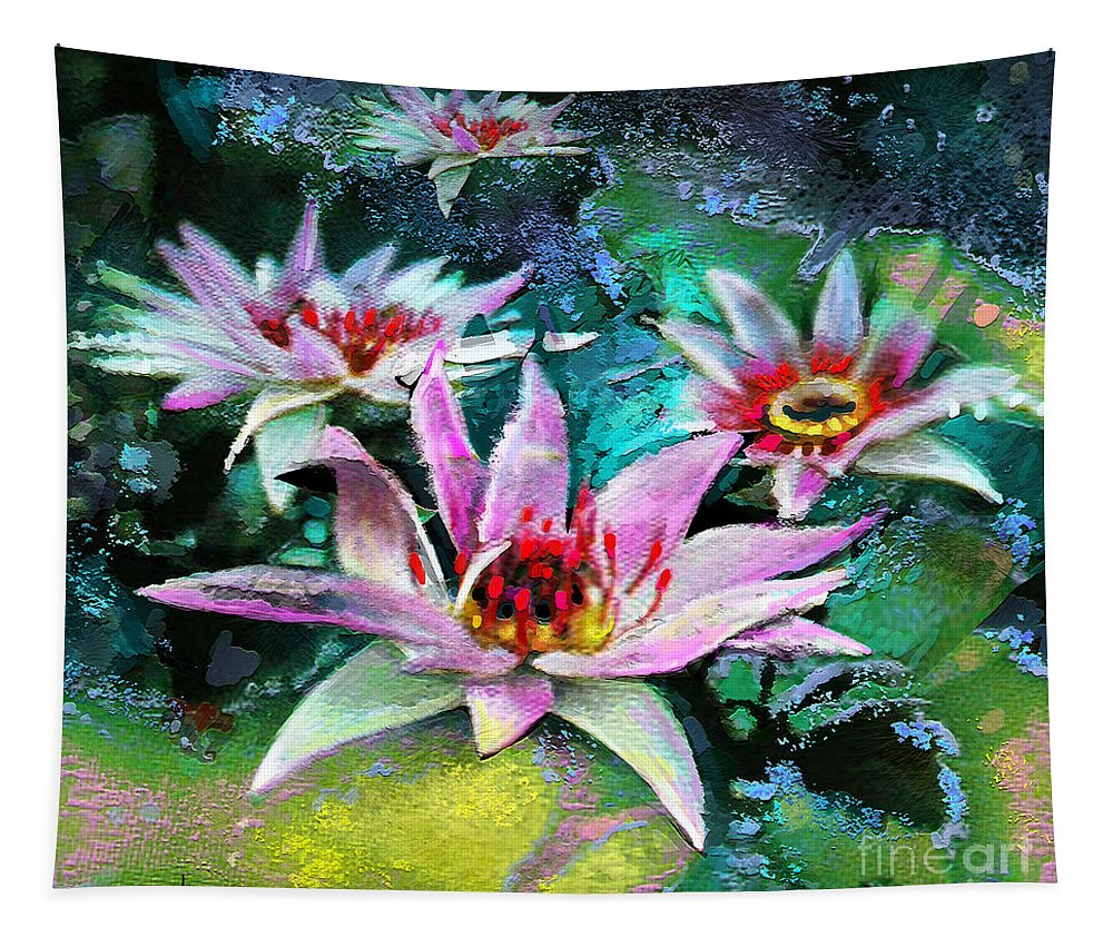 Flower Painting Tapestry featuring the painting Ufoscape 01 by Miki De Goodaboom