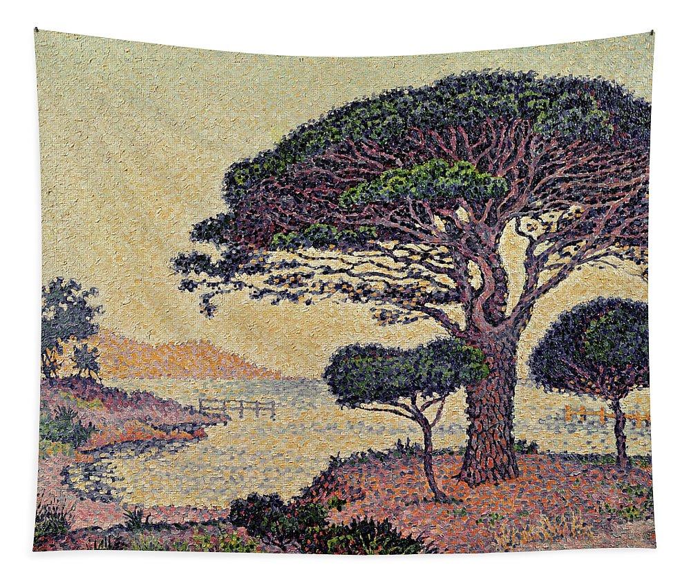 Umbrella Pines At Caroubiers Tapestry featuring the painting Umbrella Pines At Caroubiers by Paul Signac