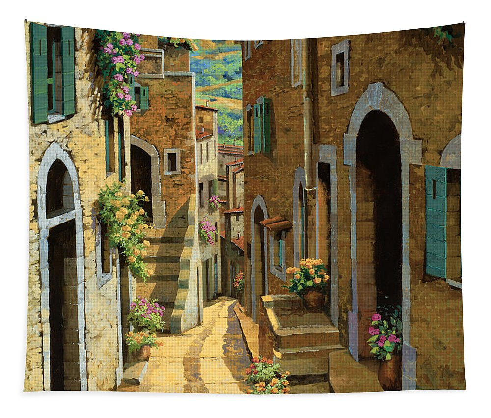 Village Tapestry featuring the painting Un Passaggio Tra Le Case by Guido Borelli