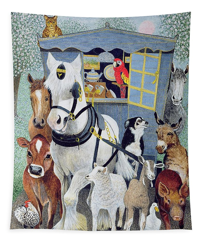 Animal Tapestry featuring the painting Uncle Tom Cobbley And All by Pat Scott