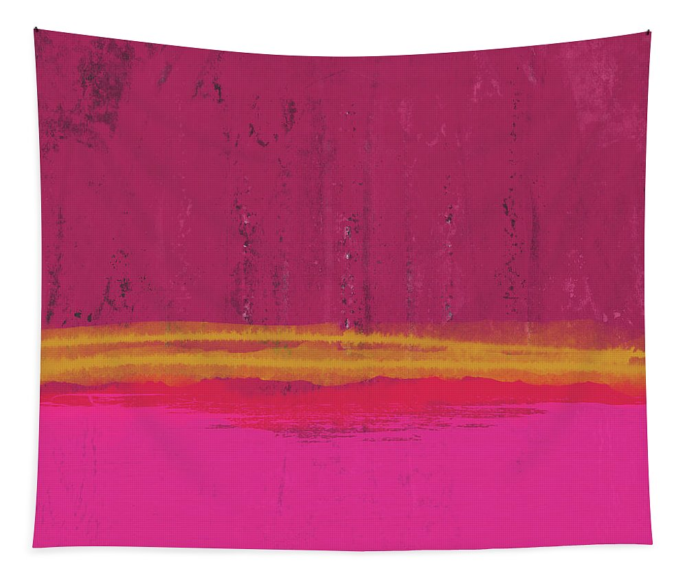 Abstract Tapestry featuring the mixed media Undaunted Pink Abstract- Art by Linda Woods by Linda Woods