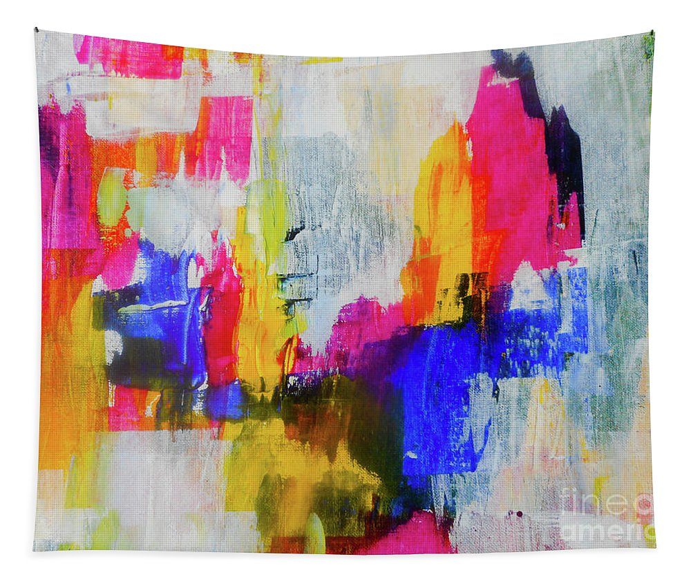 Abstract Tapestry featuring the painting Undecided by Elle Justine