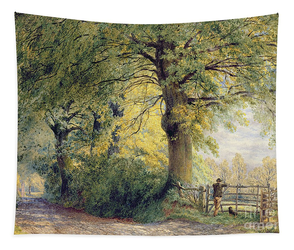 Under The Beeches (oil On Canvas) By John Steeple (1823-1887) Tapestry featuring the painting Under The Beeches by John Steeple