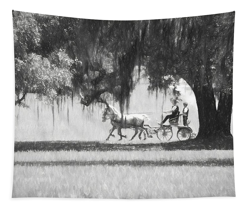 Horses Tapestry featuring the photograph Under The Oaks by Alice Gipson