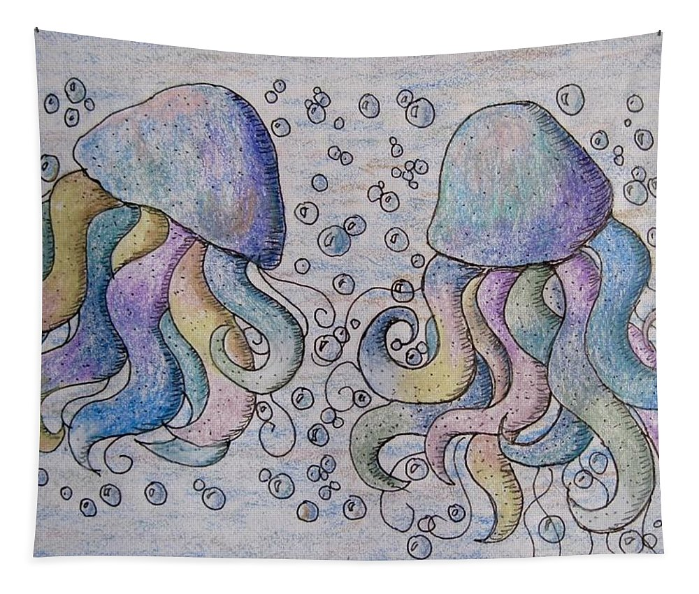 Jelly Fish Tapestry featuring the drawing Under The Sea by Megan Walsh