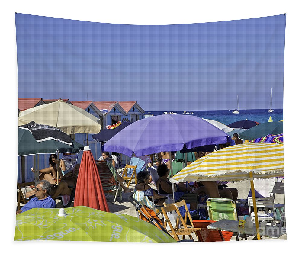 Umbrellas Tapestry featuring the photograph Under The Umbrellas by Madeline Ellis