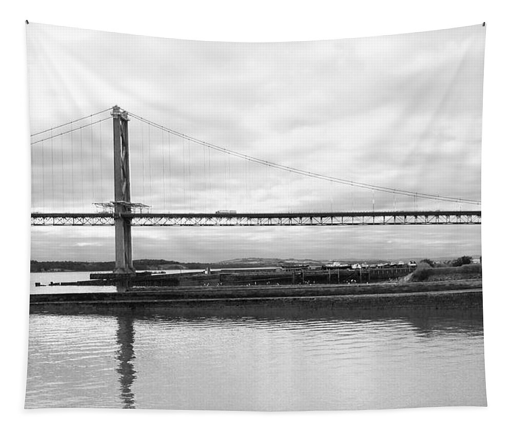 Forth Road Bridge Tapestry featuring the photograph Under The Wing by Elena Perelman