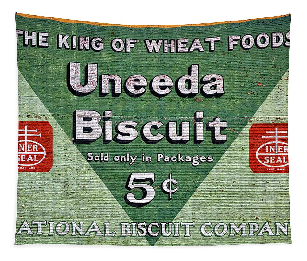 Roanoke Tapestry featuring the photograph Uneeda Biscuit Vintage Sign by Stuart Litoff