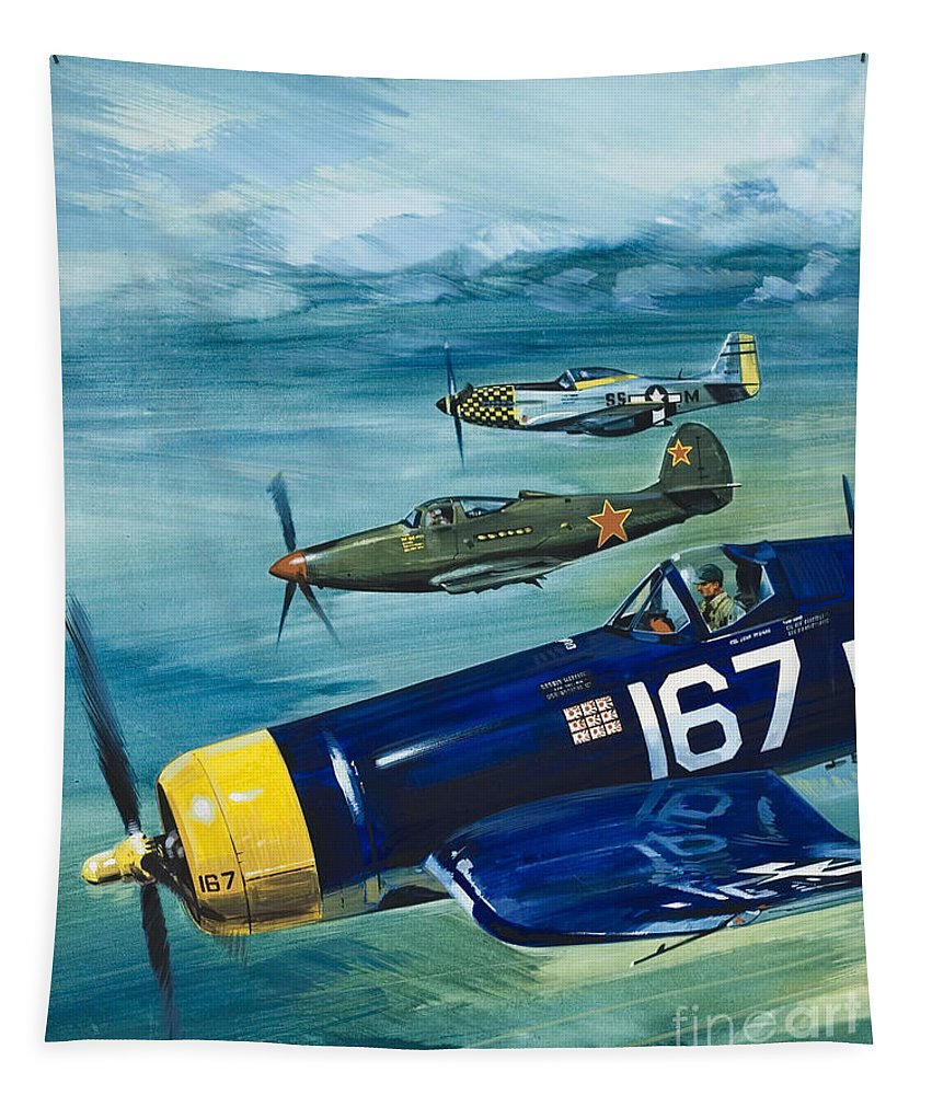 Plane Tapestry featuring the painting Unidentified Aircraft by Wilf Hardy