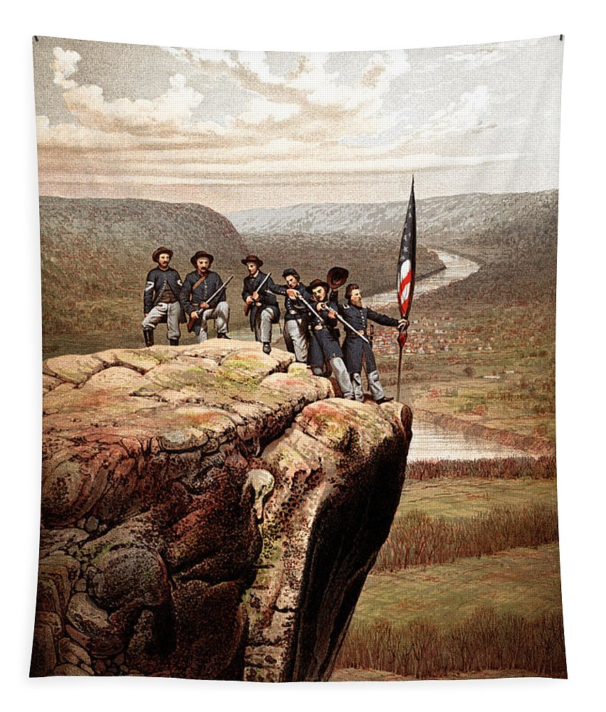 Civil War Tapestry featuring the painting Union Soldiers On Lookout Mountain by War Is Hell Store