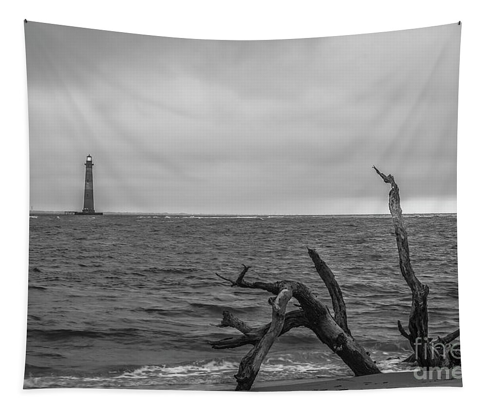 Morris Island Lighthouse Tapestry featuring the photograph Unique Morris Island View by Dale Powell