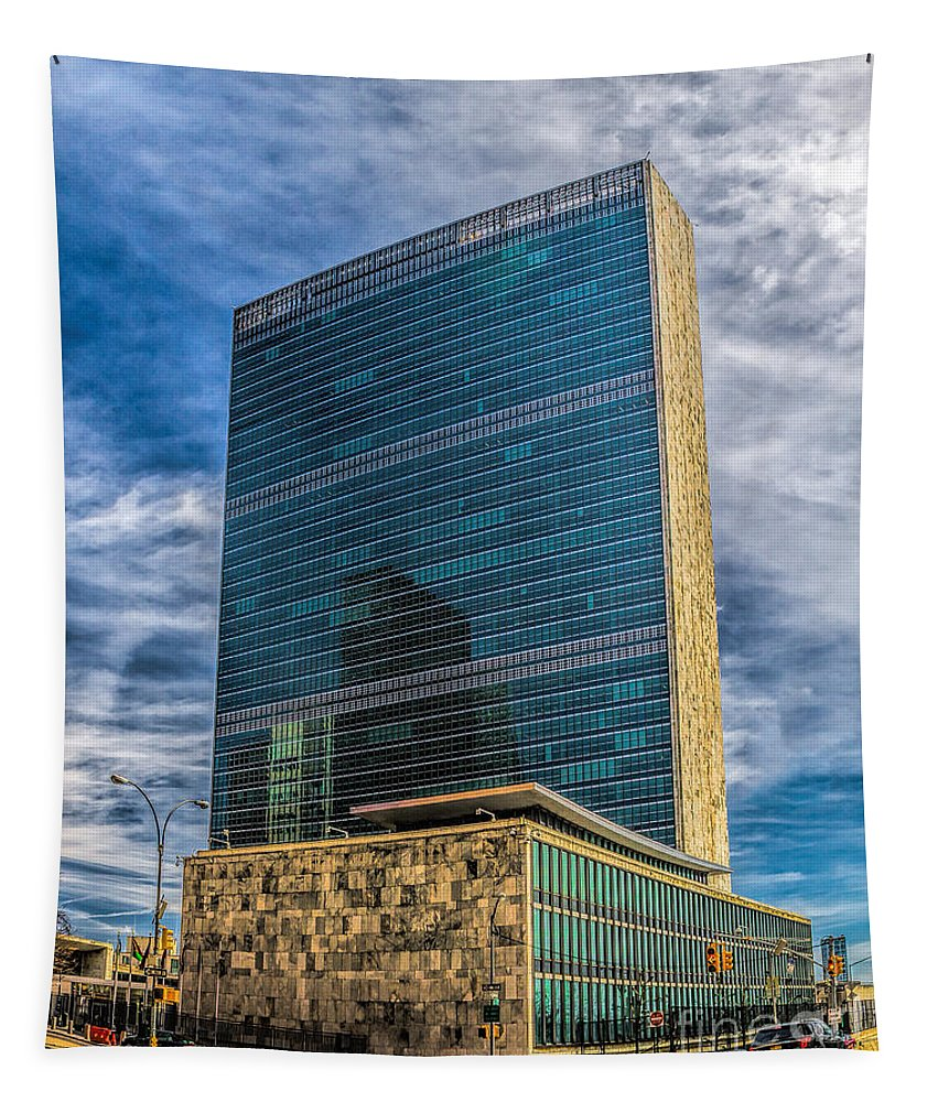 City Tapestry featuring the photograph United Nations Headquarters by Nick Zelinsky