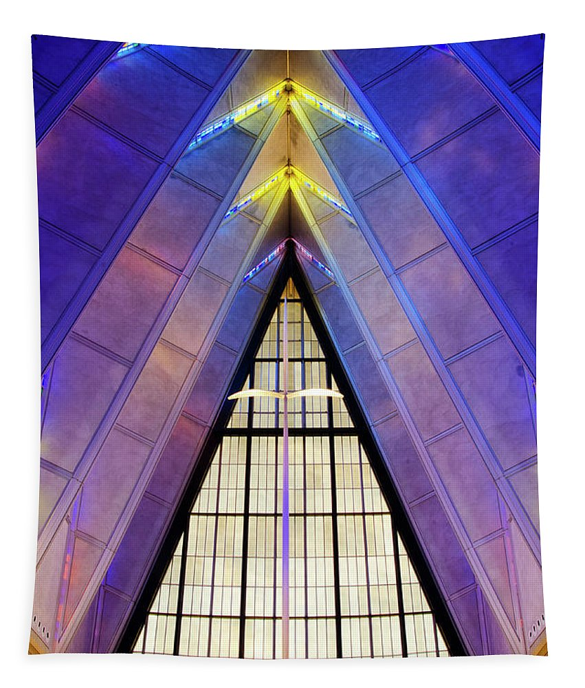 Architecture Tapestry featuring the photograph United States Air Force Academy Cadet Chapel 3 by Bob Christopher